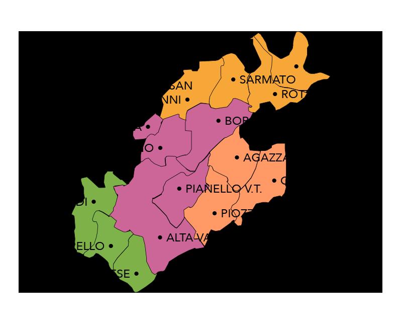 Mappa aree Confluenze Val Tidone Val Luretta